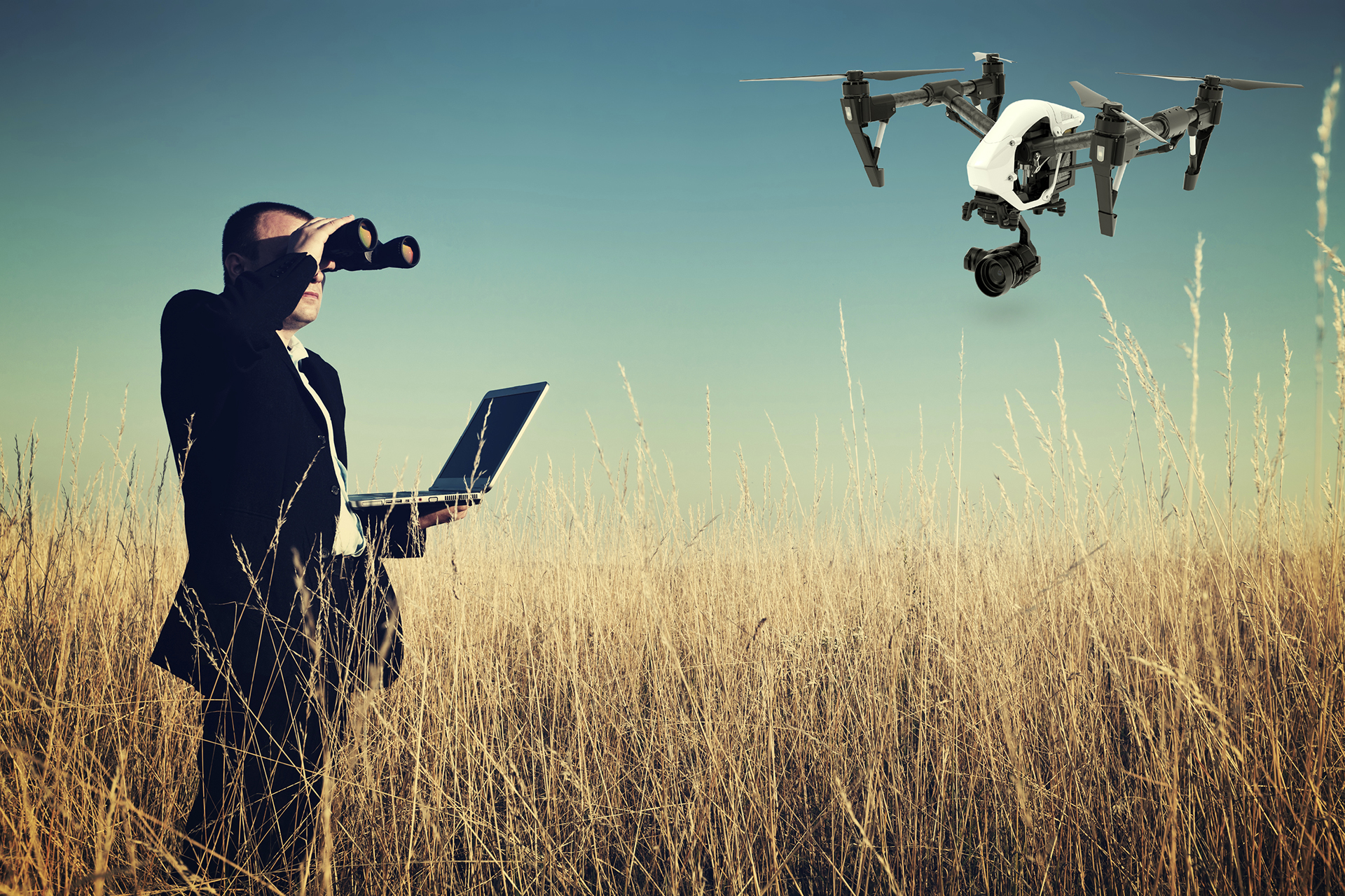 Image of Man Searching for Drone Services