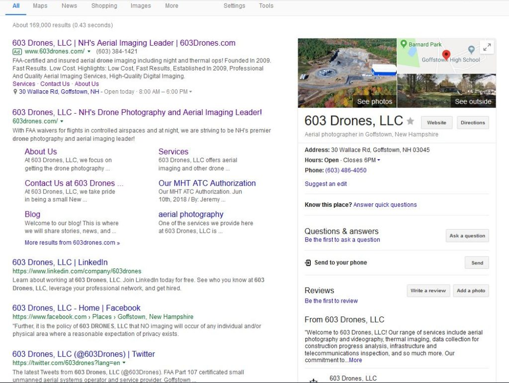 Image of Google Search Results for 603 Drones, LLC